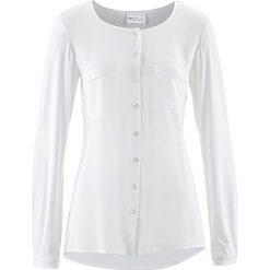 Bluzka Premium z jedwabną wstawką bonprix biel wełny. Białe bluzki asymetryczne bonprix, z dzianiny. Za 149,99 zł.