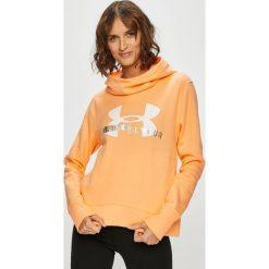 Under Armour - Bluza. Pomarańczowe bluzy z kapturem damskie marki Under Armour, l, z nadrukiem, z bawełny. Za 199,90 zł.