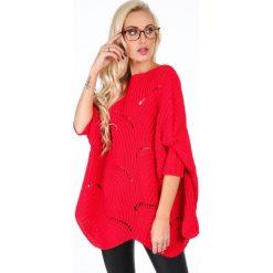 Sweter w ażurowe wzory czerwony 0205. Czerwone swetry klasyczne damskie Fasardi. Za 169,00 zł.