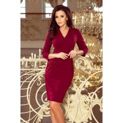 7d03c086a8 Kelly Elegancka Sukienka Z Dekoltem Bordowa. Czerwone sukienki damskie  numoco