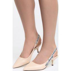 Beżowe Sandały Behind The Corner. Brązowe sandały damskie marki Born2be, z materiału, na wysokim obcasie, na obcasie. Za 79,99 zł.