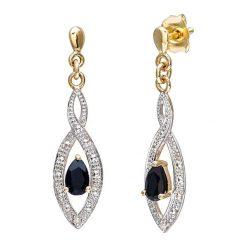 Kolczyki damskie: Złote kolczyki z diamentami i szafirem