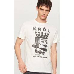 T-shirty męskie: T-shirt z zabawnym nadrukiem – Biały
