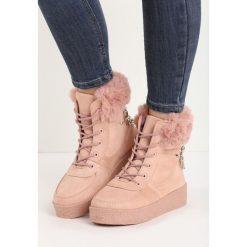 Różowe Śniegowce Heat Up. Czerwone buty zimowe damskie Born2be, z materiału. Za 49,99 zł.