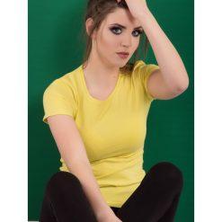 Bluzka basic krótki rękaw okrągły dekolt jasnożółta. Żółte bluzki damskie Yups, l, z bawełny, młodzieżowe, z okrągłym kołnierzem, z krótkim rękawem. Za 29,99 zł.