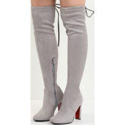 Szare Kozaki Perpetrate a Crime. Szare buty zimowe damskie marki Born2be, z okrągłym noskiem, za kolano, na wysokim obcasie, na słupku. Za 139,99 zł.