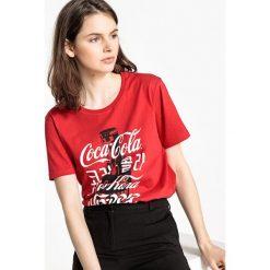 Bluzki, topy, tuniki: Koszulka z okrągłym wycięciem szyi, nadrukiem i krótkim rękawem