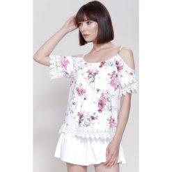 Bluzki asymetryczne: Biało-Fuksjowa Bluzka Super Stylish