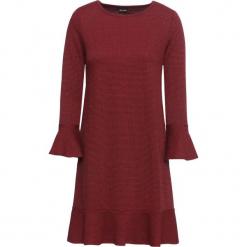 Elastyczna sukienka żakardowa bonprix truskawkowo-czarny w kratę. Czerwone sukienki rozkloszowane bonprix, z żakardem. Za 79,99 zł.