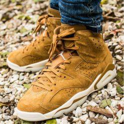 "Buty Air Jordan 6 Retro ""Wheat"" (384664-705). Brązowe buty skate męskie Jordan, z materiału. Za 559,99 zł."