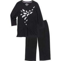 Piżamy damskie: Piżama ze spodniami rybaczkami, rękawy 3/4 bonprix czarno-biały z nadrukiem