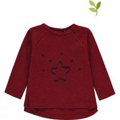 Koszulka w kolorze bordowym. Czerwone bluzki dziewczęce bawełniane bellybutton, z nadrukiem, z okrągłym kołnierzem. W wyprzedaży za 37,95 zł.