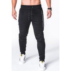 SPODNIE MĘSKIE DRESOWE P656 - CZARNE. Czarne spodnie dresowe męskie Ombre Clothing, z bawełny. Za 55,00 zł.