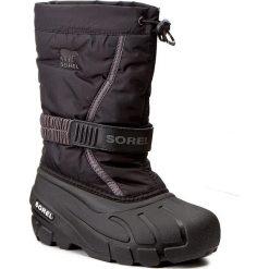 Śniegowce SOREL - Childrens Flurry NC1885 Black/City Grey 016. Czarne buty zimowe chłopięce Sorel, z gumy. W wyprzedaży za 189,00 zł.