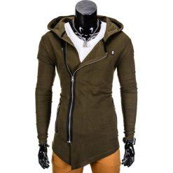 BLUZA MĘSKA ROZPINANA Z KAPTUREM B680 - KHAKI. Brązowe bluzy asymetryczne męskie Ombre Clothing, m, z kapturem. Za 69,00 zł.