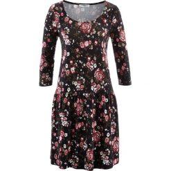 Sukienki hiszpanki: Sukienka, rękawy 3/4 bonprix czarno-bordowy w kwiaty