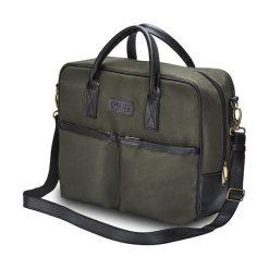CIDRO Męska torba na ramię na laptopa Khaki. Zielone torby na ramię męskie marki Solier, w paski, ze skóry ekologicznej. Za 169,00 zł.