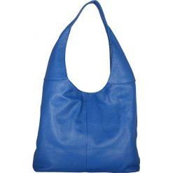 Torebki klasyczne damskie: Skórzana torebka w kolorze niebieskim – 34 x 55 x 16 cm