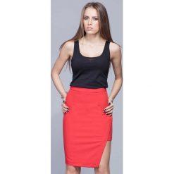 Spódniczki: Czerwona Oryginalna Asymetryczna Spódnica Ołówkowa