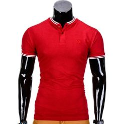 KOSZULKA MĘSKA POLO BEZ NADRUKU S843 - CZERWONA. Czerwone koszulki polo marki Ombre Clothing, m, z nadrukiem. Za 29,00 zł.