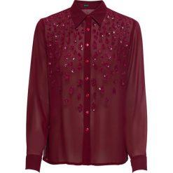 Bluzka z cekinami bonprix czerwony klonowy. Czerwone bluzki asymetryczne bonprix, z aplikacjami, z długim rękawem. Za 59,99 zł.