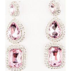 Kolczyki damskie: NA-KD Party Potrójne, duże kolczyki wysadzane kryształami – Pink,Multicolor,Silver