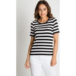 Bluzki asymetryczne: Biało-czarna bluzka w poziome pasy BIALCON
