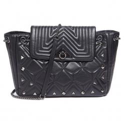 Torebka w kolorze czarnym - (S)32 x (W)23 x (G)9 cm. Czarne torebki klasyczne damskie Tosca Blu, w paski, z materiału, z tłoczeniem. W wyprzedaży za 329,95 zł.