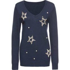 Swetry klasyczne damskie: Sweter z aplikacjami w kształcie gwiazd bonprix ciemnoniebieski