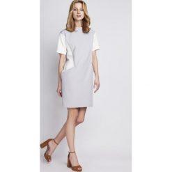 Sukienki: Prosta Szara Sukienka z Krótkim Rękawem