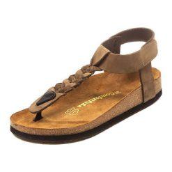 Sandały damskie: Skórzane sandały w kolorze jasnobrązowym