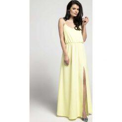 Żółta Zwiewna Maxi Sukienka na Cienkich Ramiączkach z Rozcięciem. Niebieskie długie sukienki marki bonprix, z nadrukiem, na ramiączkach. W wyprzedaży za 139,41 zł.