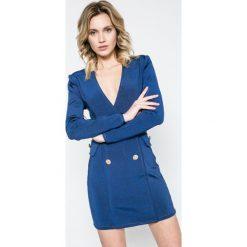 Missguided - Sukienka. Szare sukienki dzianinowe marki Missguided, na co dzień, z haftami, casualowe, mini, dopasowane. W wyprzedaży za 159,90 zł.