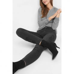 Jeansy skinny z haftem. Brązowe jeansy damskie skinny marki Orsay, s, z dzianiny. Za 119,99 zł.