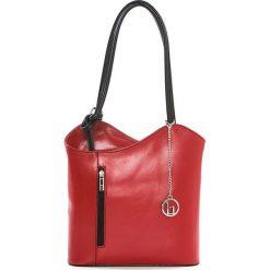 Torebki klasyczne damskie: Skórzana torebka w kolorze czerwonym – 28 x 55 x 9 cm