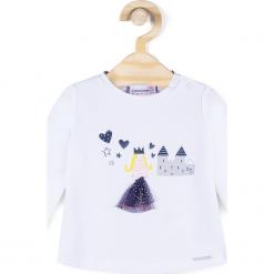 Koszulka. Białe bluzki dziewczęce bawełniane PRINCESS, z aplikacjami, z długim rękawem. Za 19,90 zł.