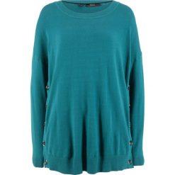 Sweter z plisą guzikową z boku bonprix kobaltowo-turkusowy. Niebieskie swetry klasyczne damskie marki bonprix, z nadrukiem. Za 59,99 zł.