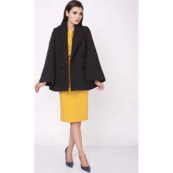 Płaszcze damskie pastelowe: Czarny Elegancki Dwurzędowy Płaszcz z Rozkloszowanym Rękawem