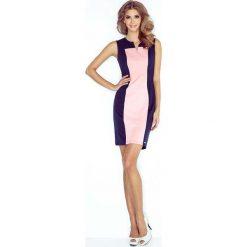 Sukienki: Granatowo Różowa Sukienka Dopasowana Dwubarwna bez Rękawów
