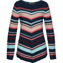 Swetry klasyczne damskie: Sweter asymetryczny bonprix ciemnoniebiesko-kolorowy