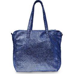 Torba shopper metallic bonprix ciemnoniebieski. Niebieskie torby plażowe marki bonprix, ze skóry, duże, zdobione. Za 59,99 zł.