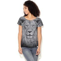 Colour Pleasure Koszulka damska CP-034  244  szaro-czarna r. XS-S. Czarne bluzki damskie marki Colour pleasure, s. Za 70,35 zł.
