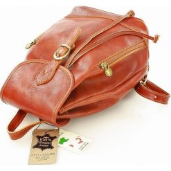 CELESTA Włoski plecak skórzany camel. Brązowe plecaki damskie MAZZINI, ze skóry, klasyczne. Za 339,00 zł.