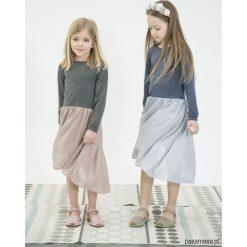 NADINE Sukienka dwukolorowa. Szare sukienki dziewczęce z falbanami Pakamera, z bawełny. Za 199,00 zł.
