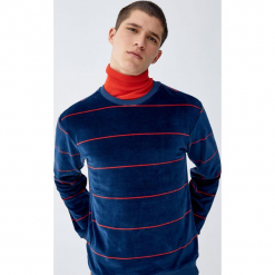 Aksamitna bluza w paski. Czerwone bluzy męskie marki KALENJI, m, z elastanu, z długim rękawem, długie. Za 139,00 zł.