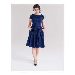 Sukienki hiszpanki: Sukienka Melia granatowa z krótkim rękawem (niższa talia) 32