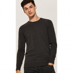 Gładki sweter - Czarny. Szare swetry klasyczne męskie marki bonprix, l, melanż. Za 59,99 zł.