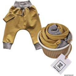 Odzież dziecięca: Spodnie baggy szelka musztarda
