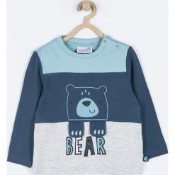 Koszulka. Szare t-shirty chłopięce z długim rękawem GRIZZLY BEAR, z aplikacjami, z bawełny. Za 39,90 zł.