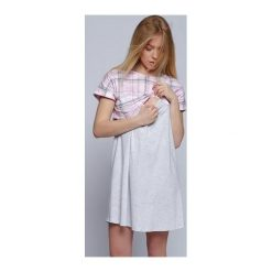 Koszula Cindy Szaro-różowa r. XL. Czerwone bluzki ciążowe marki DOMYOS, z elastanu. Za 50,01 zł.